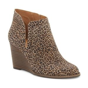 Lucky Yabba leopard ankle boots wedge cut out 10